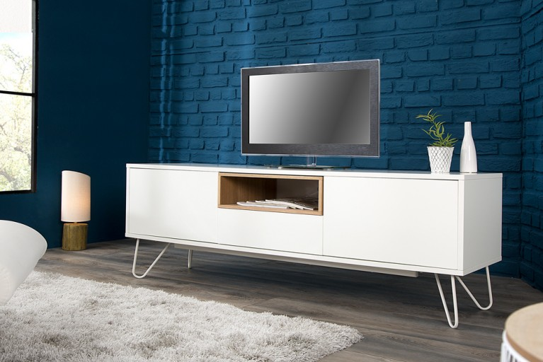 Modernes Design Lowboard BALTIC 150cm edelmatt weiß Echt Eiche TV-Board