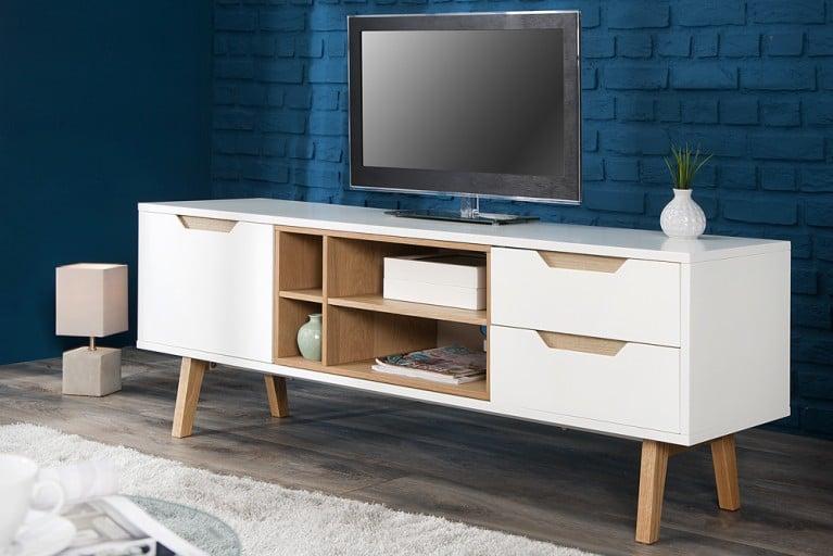 Design Retro Lowboard NORDIC 150cm edelmatt weiß Echt Eiche TV-Board