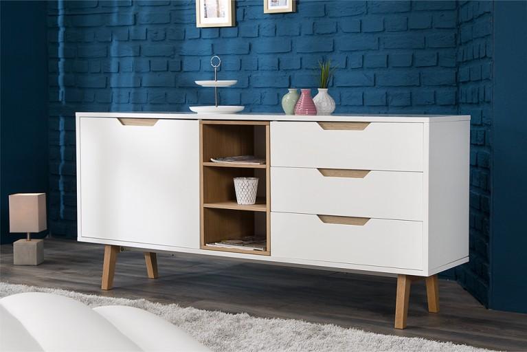 Design Sideboard NORDIC 150cm edelmatt weiß Echt Eiche Anrichte