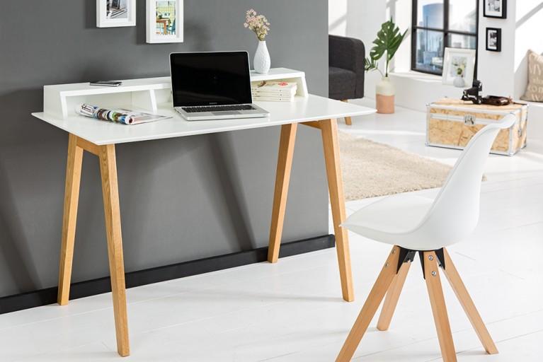 Design Schreibtisch SCANDINAVIA MEISTERSTÜCK 120cm weiß Echt Eiche Sekretär