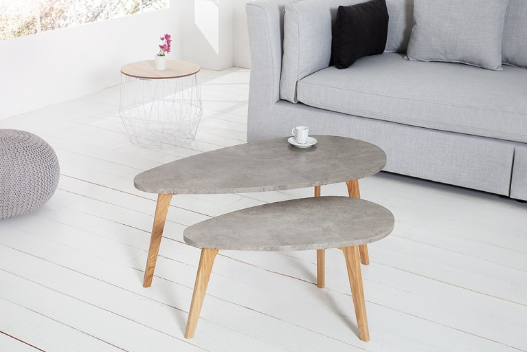 2er Set Couchtisch SCANDINAVIA CEMENT Echt Eiche Beton-Optik
