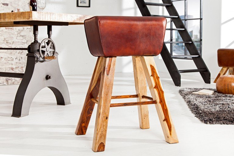 Design Barhocker TURNBOCK mit Echtleder Bezug Kult Barstuhl