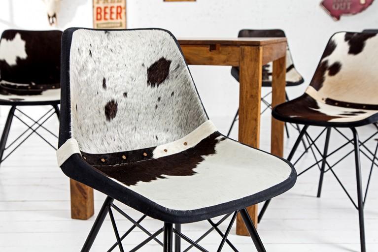 Design Stuhl TORO hochwertiges Kuhfell schwarz weiß Eisengestell