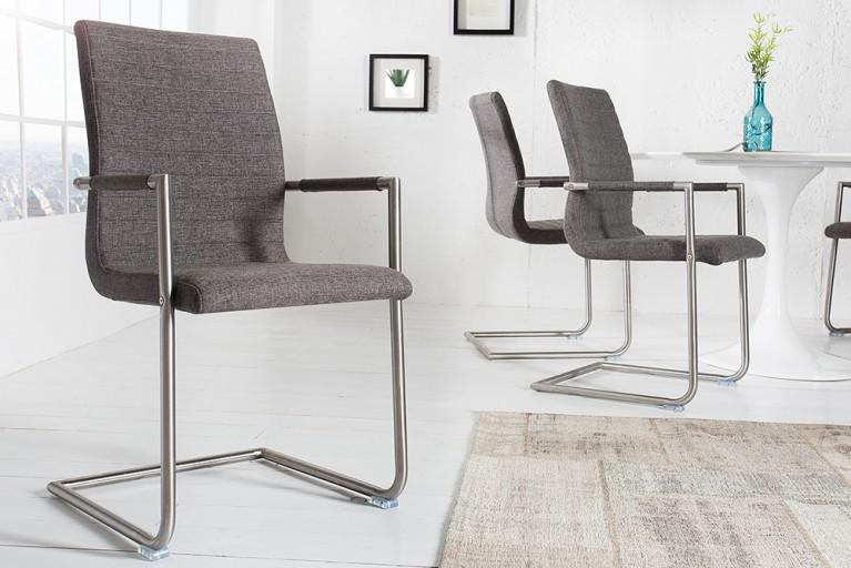 Hochwertiger Echt Edelstahl Freischwinger Stuhl RICHMOND Strukturstoff grau mit Armlehnen