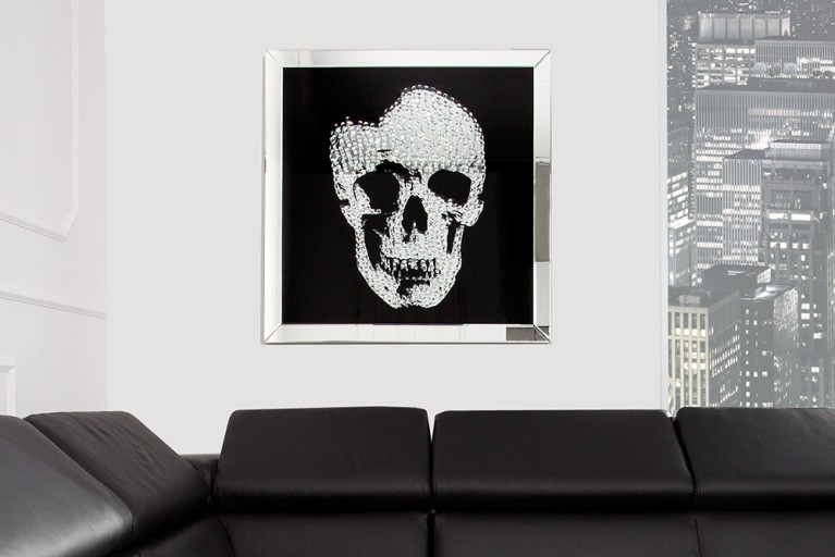 Exklusive Wandskulptur Bild MIRROR SKULL XL Diamond Skull 80x80cm