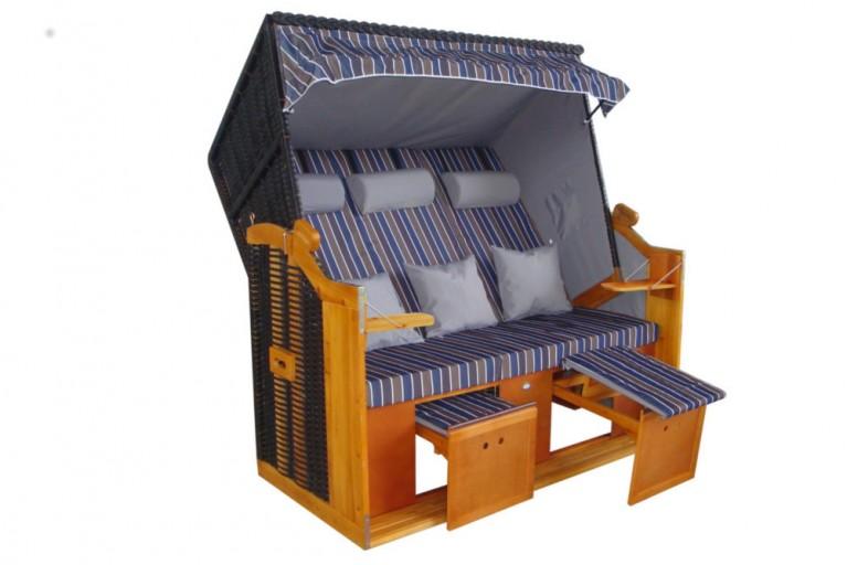 XXL Strandkorb Premium Volllieger Gartenliege BALTIC DELUXE anthrazit grau / Streifen 2 Designs Garten