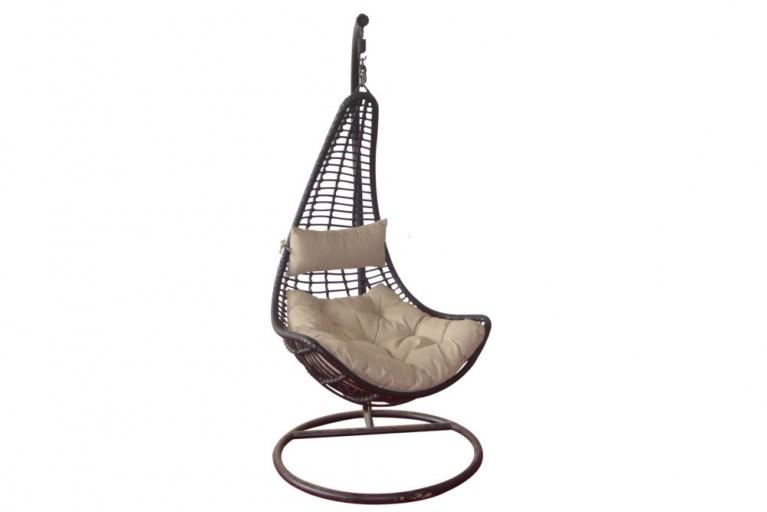 Stilvoller Hängestuhl LODGE 190 cm braun hochwertiger Garten Korbstuhl inkl. Kissen