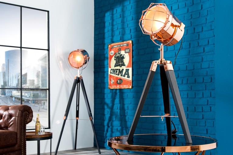 Vintage Stehleuchte TRIPOD schwarz kupfer 65 cm Dreibein Lampe