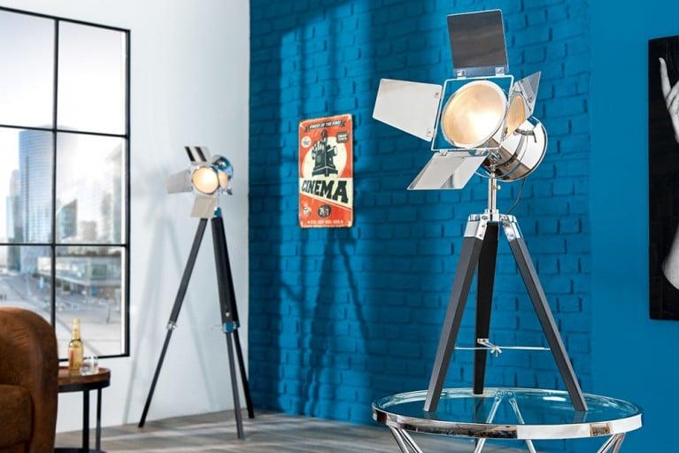 Vintage Stehleuchte HOLLYWOOD schwarz chrom 65 cm Dreibein Lampe