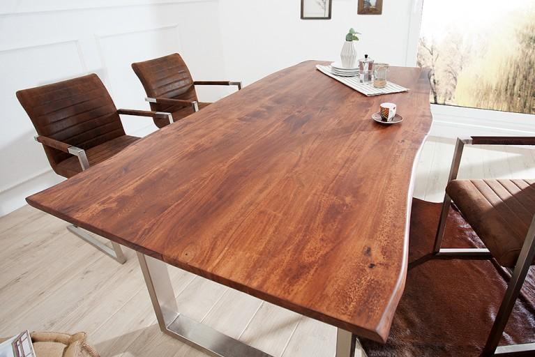 Massiver Baumstamm Tisch MAMMUT braun 160 cm Massivholz Akazie Industrial Look Kufengestell