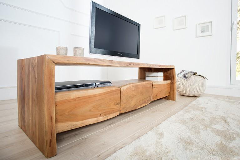 Massives Baumstamm TV-Board MAMMUT 145 cm Lowboard Akazie Massivholz