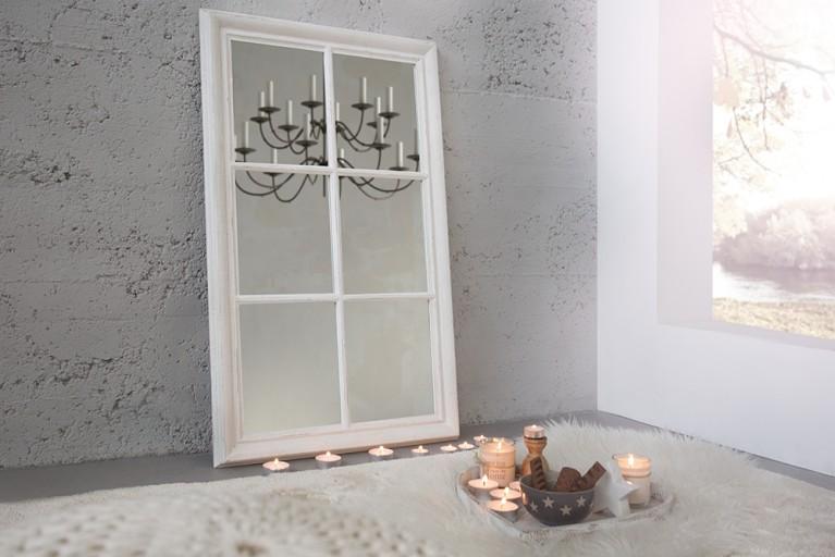 Romantischer Spiegel WINDOW grau vintage weiß 105 cm im Shabby Look