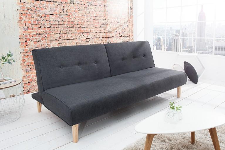 Modernes Schlafsofa BALTIC 180 cm Strukturstoff Couch anthrazit