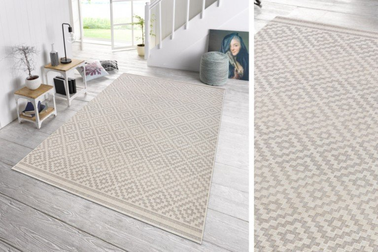 Eleganter In- & Outdoorteppich LOTUS 160x230cm grau creme Lotus Summer Collection