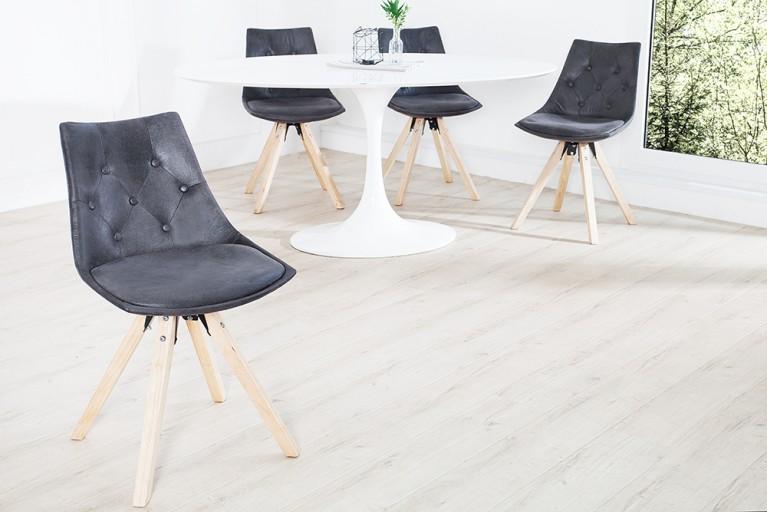 Exklusiver Design Stuhl VERY BRITISH im edlen Antikgrau mit aufwendiger Chesterfield Steppung