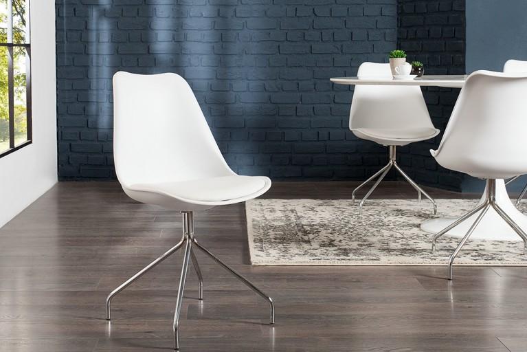 Zeitloser Design Stuhl SPIDER weiß mit hochwertig verchromten Stuhlgestell Designklassiker