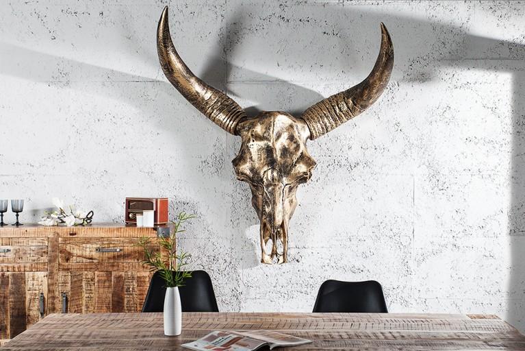 Monumentaler Longhorn Skull EL TORO XXL 135cm gold antik Büffelschädel Geweih Wanddeko