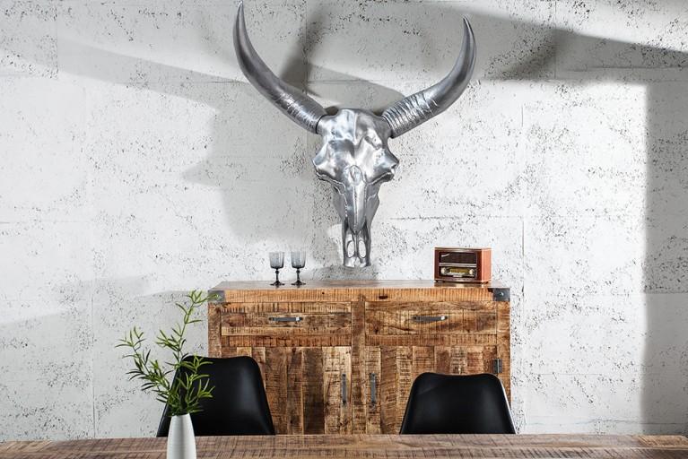 Monumentaler Longhorn Skull EL TORO XXL 135cm chrom Büffelschädel Geweih Wanddeko