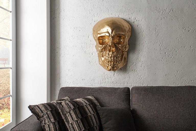 Exklusive Totenkopf Wandskulptur SKULL XXL 50cm gold Deko Schädel Totenschädel