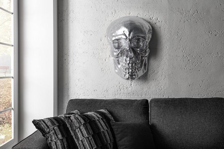 Exklusive Totenkopf Wandskulptur SKULL XXL 40cm silber Deko Schädel Totenschädel