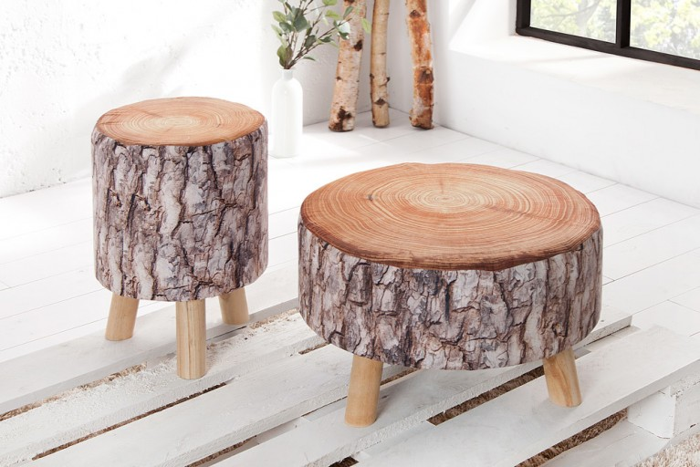 Stylischer Sitzhocker CONIFER 30 cm braun gepolstert Baumstamm-Optik mit Holzbeinen