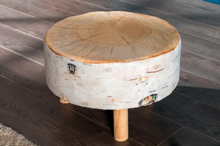 Stylischer Sitzhocker BIRCH 30 cm braun gepolstert Baumstamm-Optik mit Holzbeinen