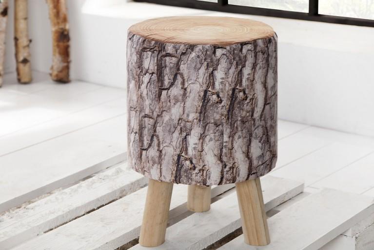 Stylischer Sitzhocker CONIFER  45 cm gepolstert Baumstamm-Optik mit Holzbeinen