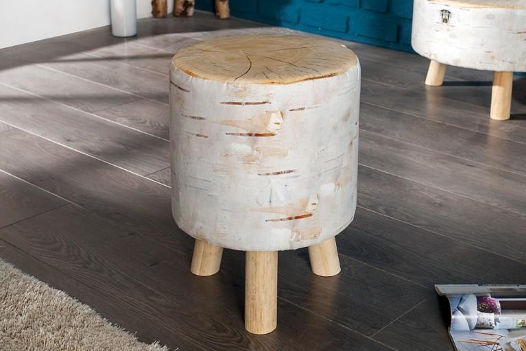 Stylischer Sitzhocker BIRCH 45 cm gepolstert Baumstamm-Optik mit Holzbeinen