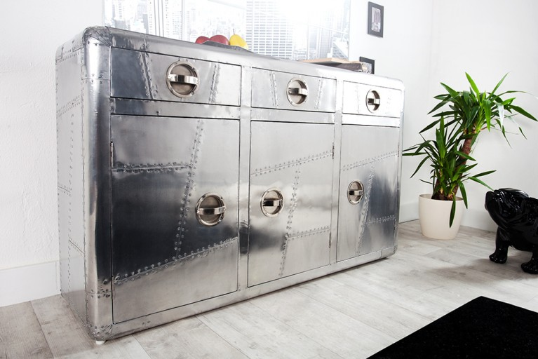 Design Sideboard AIR CRAFT silber 145 cm Vintage Retro matt