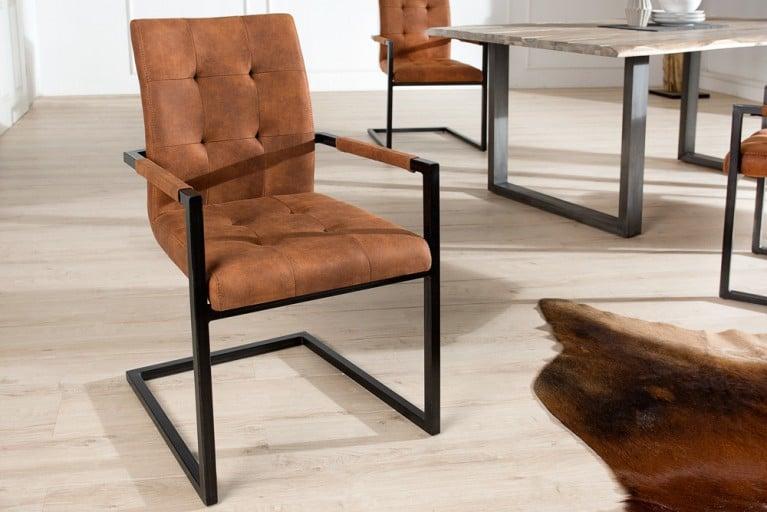 Design Freischwinger Stuhl OXFORD mit Armlehne Cognac Vintage Gestell Eisen Schwarz