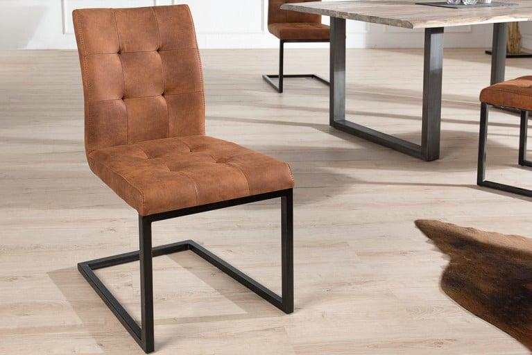 Design Freischwinger Stuhl OXFORD Cognac Vintage Gestell Eisen Schwarz