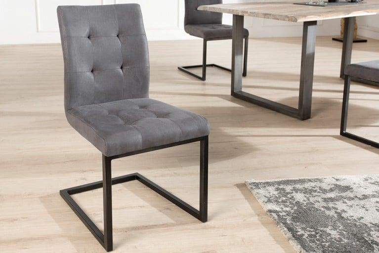Design Freischwinger Stuhl OXFORD Antik Grau Vintage Gestell Eisen Schwarz