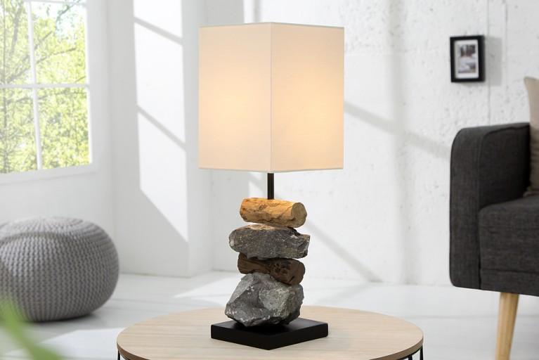Design Tischleuchte ELEMENTS aus Treibholz und Gestein mit weißem Schirm Handarbeit