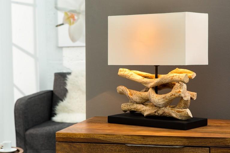 Design Tischleuchte WAVE aus recyceltem Massivholz mit Leinenschirm beige Handarbeit