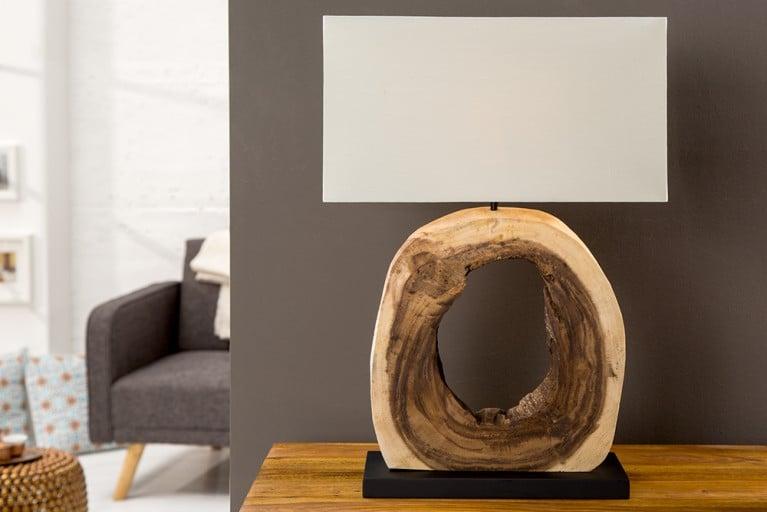 Design Tischleuchte CYCLE aus Teakholz mit echtem Leinenschirm