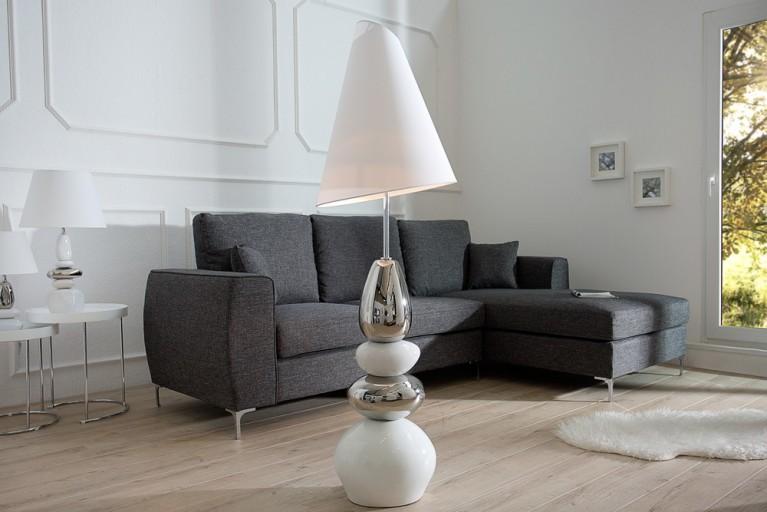 Imposante Stehlampe STONES OF ZEN weiß silber 155 cm