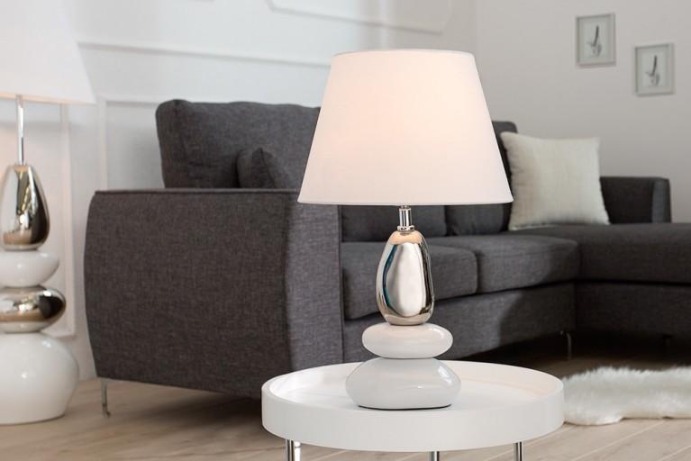 Imposante Tischleuchte STONES OF ZEN weiß silber 45 cm