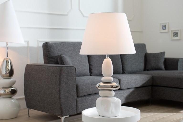Imposante Tischleuchte STONES OF ZEN weiß silber 70 cm