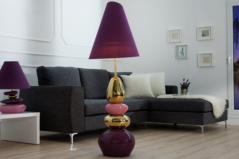 Imposante Stehlampe STONES OF ECSTASY violett gold 150 cm