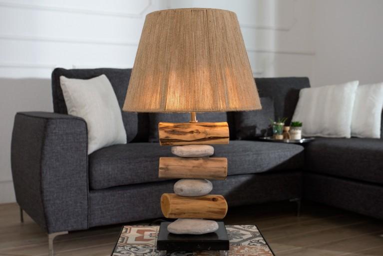 Moderne Tischleuchte NATURE STONE 60 cm mit Textilschirm