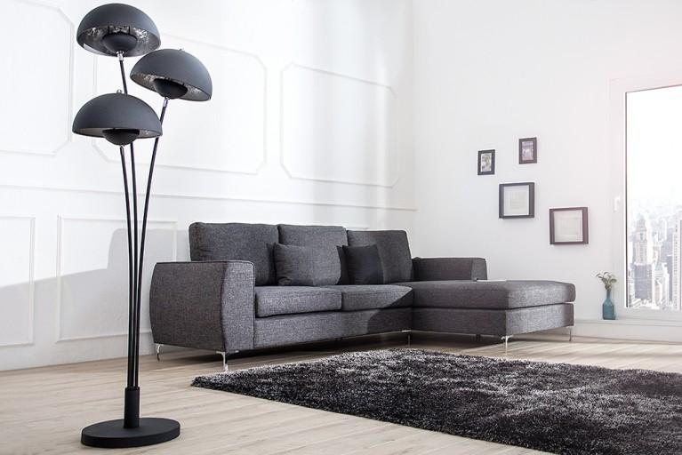 Design Stehleuchte STUDIO III 170cm schwarz silber Lampe mit Blattsilber