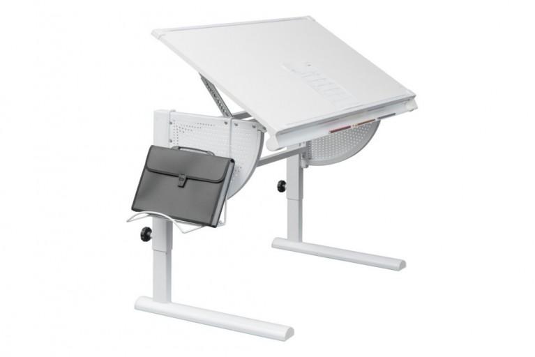 Professioneller Schreibtisch ARCHITEKT höhenverstellbar weiß Metall Schülerschreibtisch