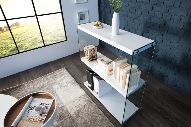 Modernes Design Bücherregal FLOATING 100 cm weiß Hochglanz mit Glas