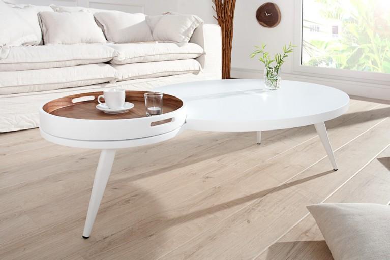 Eleganter Couchtisch CAIMAN weiß inkl. Tablett Wallnuss mit 3 Beinen oval