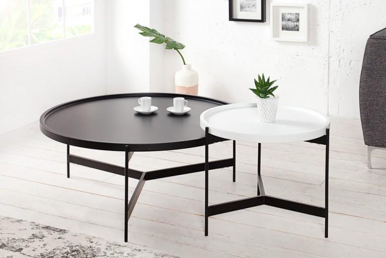 Extravagantes Couchtisch Set LAGOON schwarz weiß matt rund multifunktional