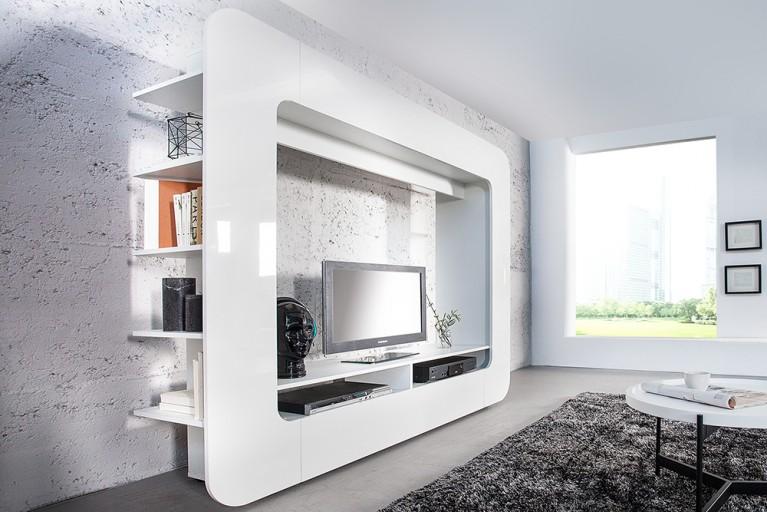 Design Wohnwand CUBUS weiß 185cm Hochglanzfront 3D Optik