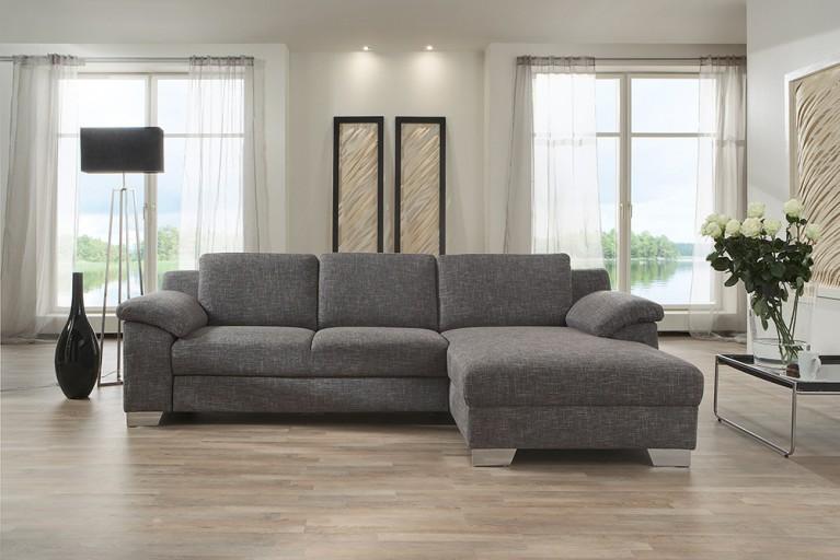 Design Ecksofa COLLEEN 280 cm grau mit Schlaffunktion OT rechts Bettkasten von CANDY Lifestyle