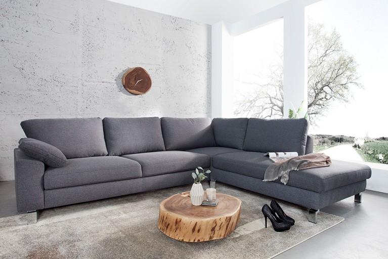 Design Ecksofa INTERMEZZO Strukturstoff dunkelgrau Chromfuß inkl. Armlehnenkissen und Schlaffunktion Original CANDY Lifestyle