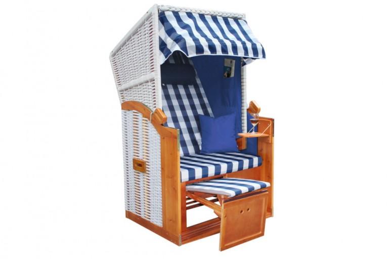Stilvoller Single Strandkorb BALTIC DELUXE blau weiß kariert Gartenliege 1-2 Personen