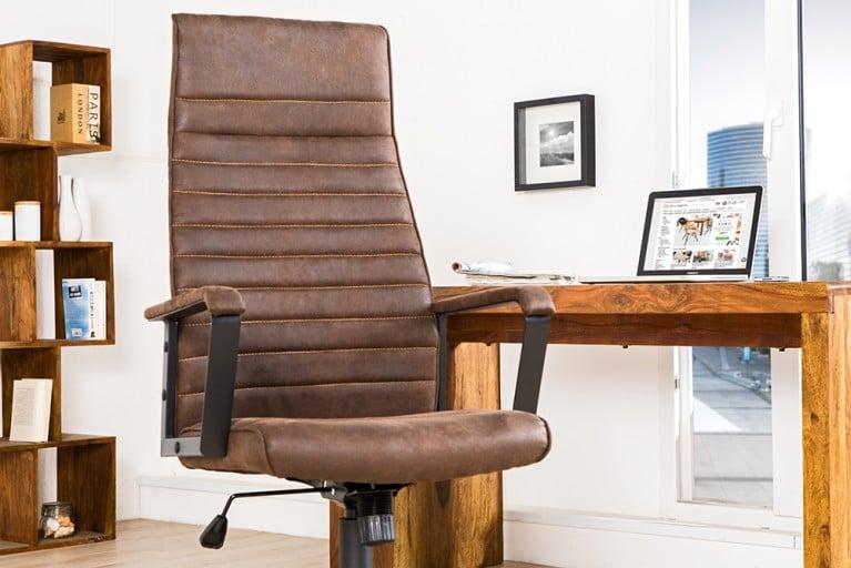 Moderner Design Bürostuhl LAZIO Highback Microfaser vintage braun Chefsessel mit Armlehnen